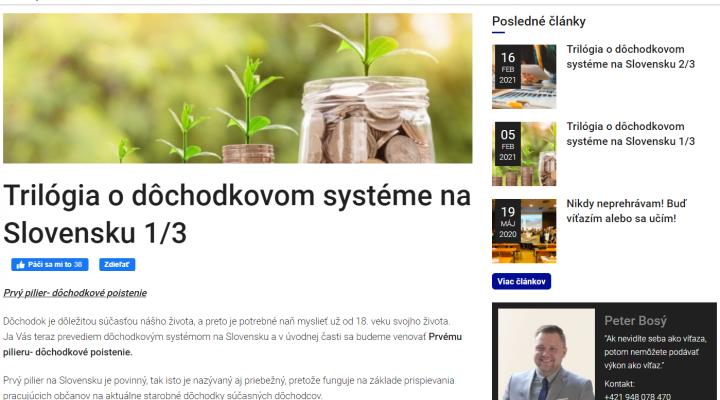 Kolega Peter Bosý vysvetľuje, ako funguje dôchodkový systém na SR (časť prvá)